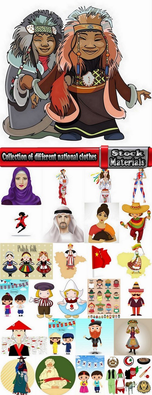 Collection of different national clothes 25 Eps