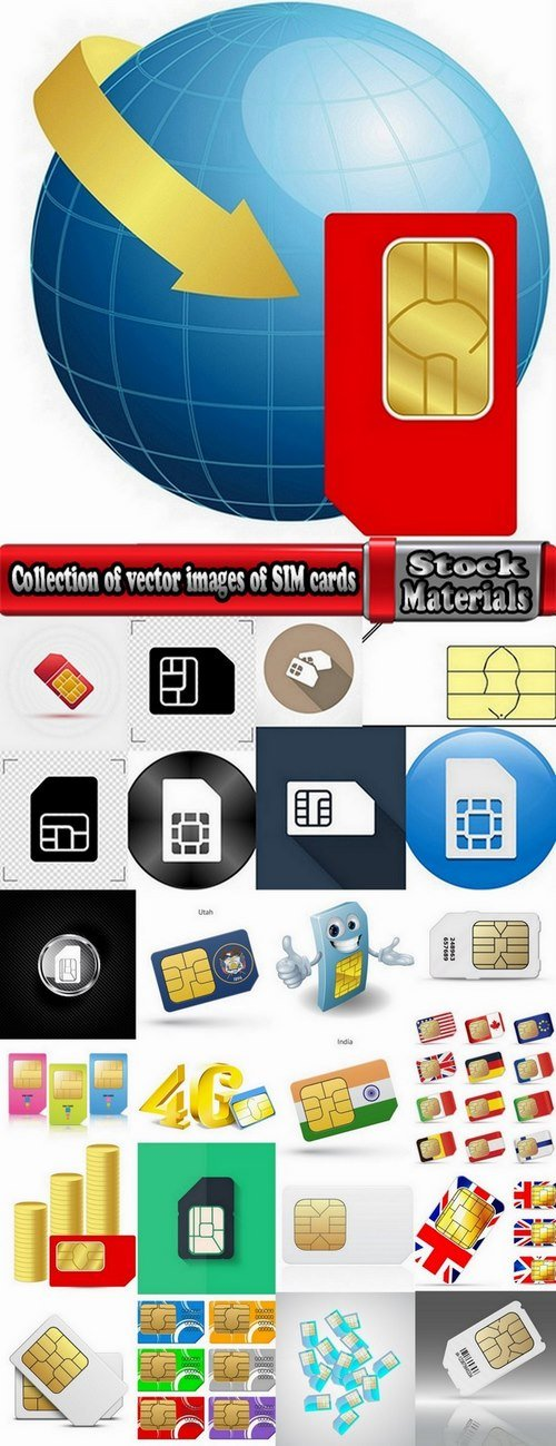 Collection of vector images of SIM cards 25 Eps