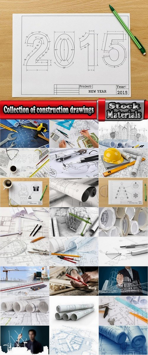 Collection of construction drawings 25 UHQ Jpeg