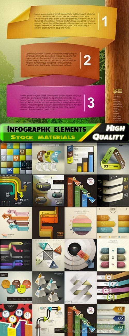 Infographic Design Elements in vector set from stock #100 - 25 Eps