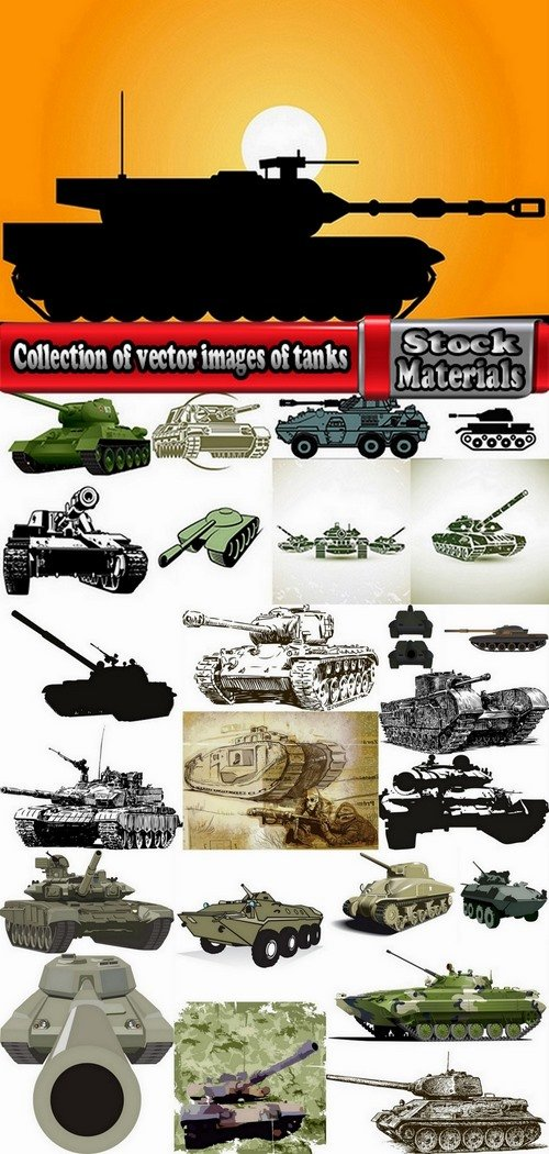 Collection of vector images of tanks 25 Eps