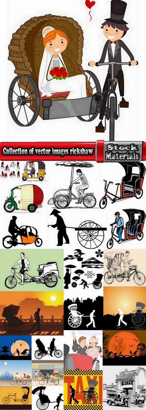 Collection of vector images rickshaw 25 Eps