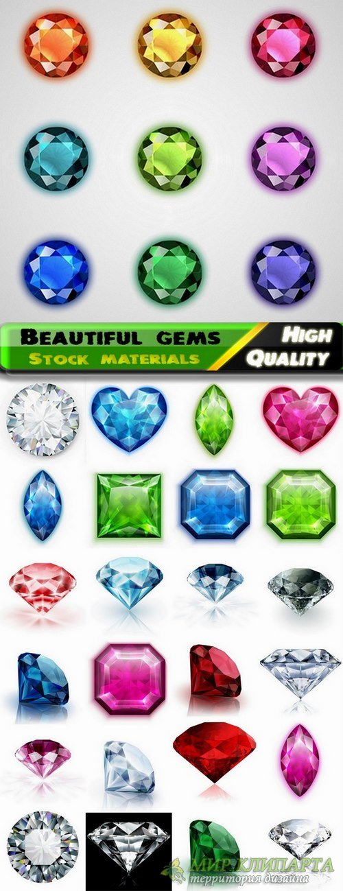 Beautiful gems and gemstones  in vector from stock - 25 Eps