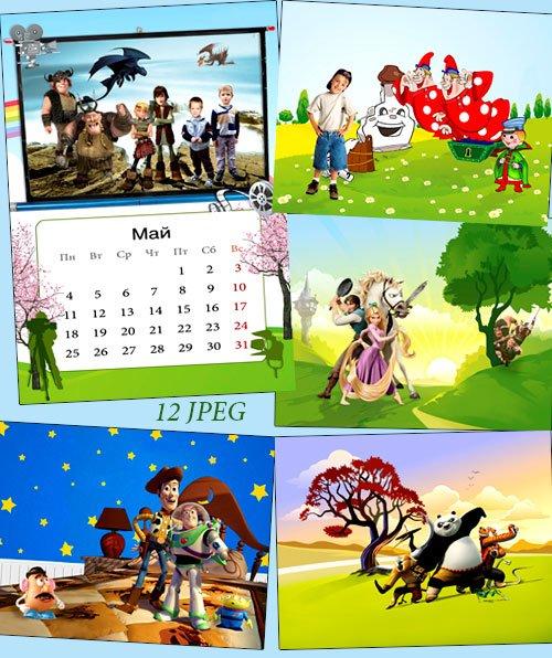 Фоны детские для коллажей с героями мультфильмов