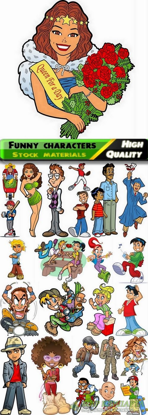 Funny cartoon characters in vector from stock #14 - 25 Eps