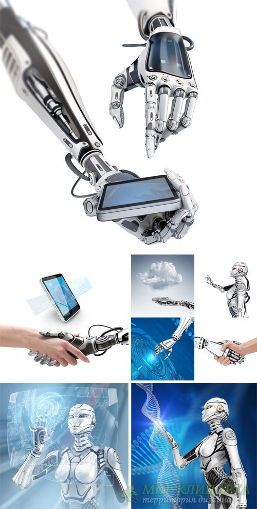 Modern technology, people and robots - stock photos