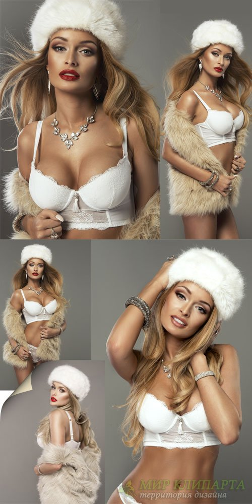 Girl in a fur hat and underwear - stock photos