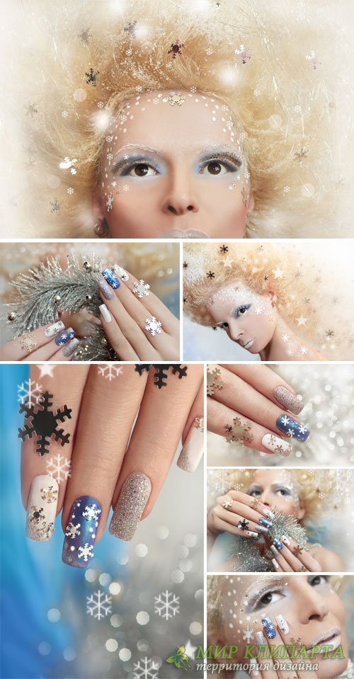 Manicure winter theme, creative girl - stock photos