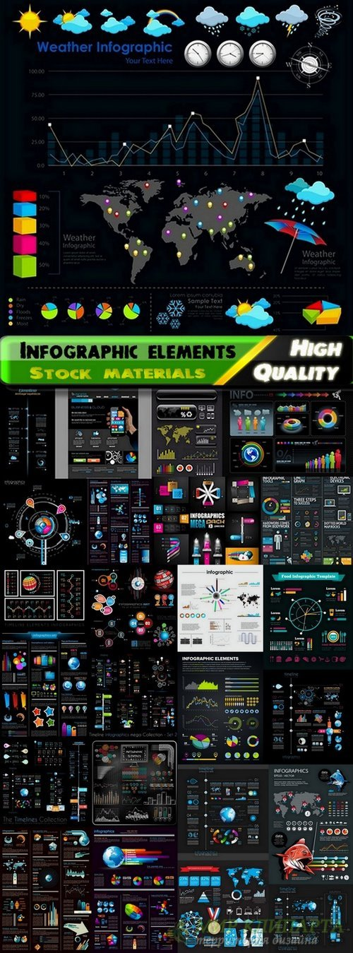 Infographic elements on black big set - 25 Eps