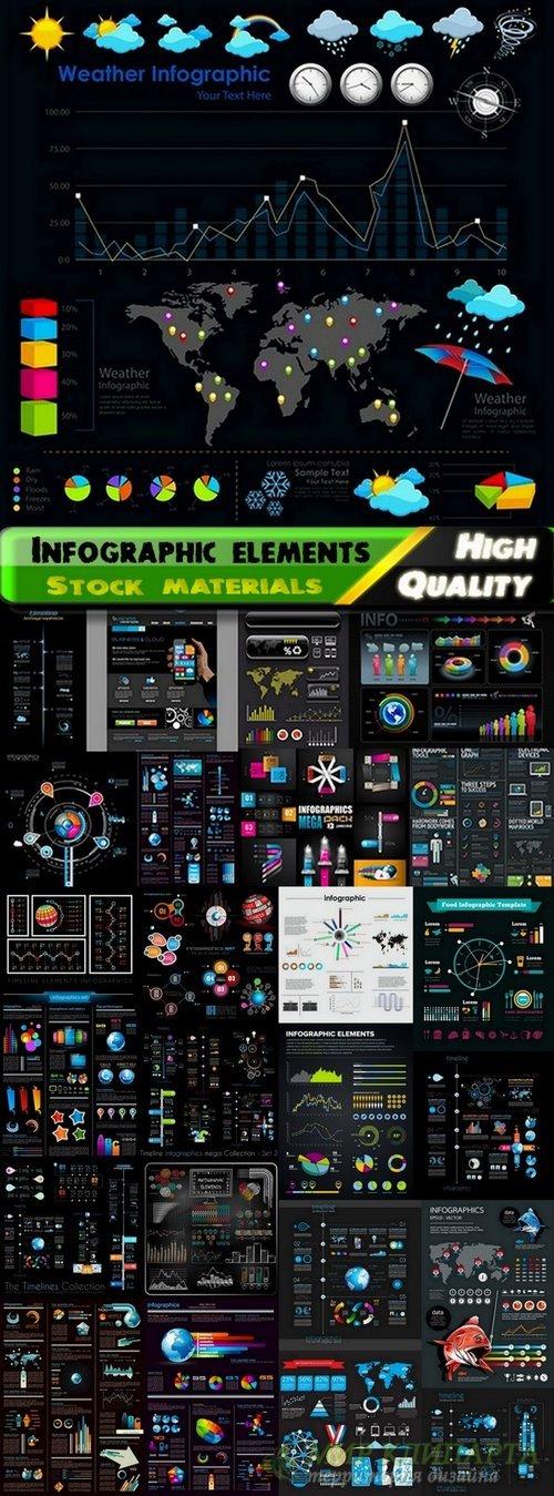 Infographic elements on black big set - 25 Eps