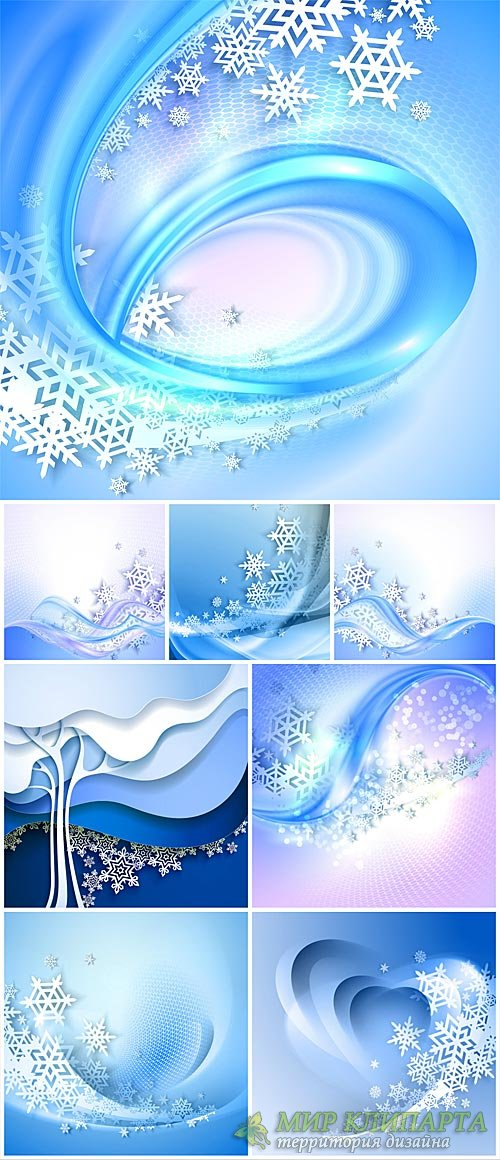 Winter vector background with snowflakes and abstraction #2