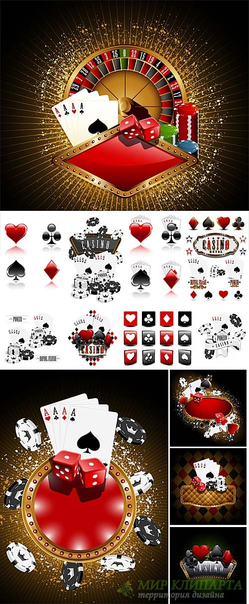 Casino, gambling, card symbols vector