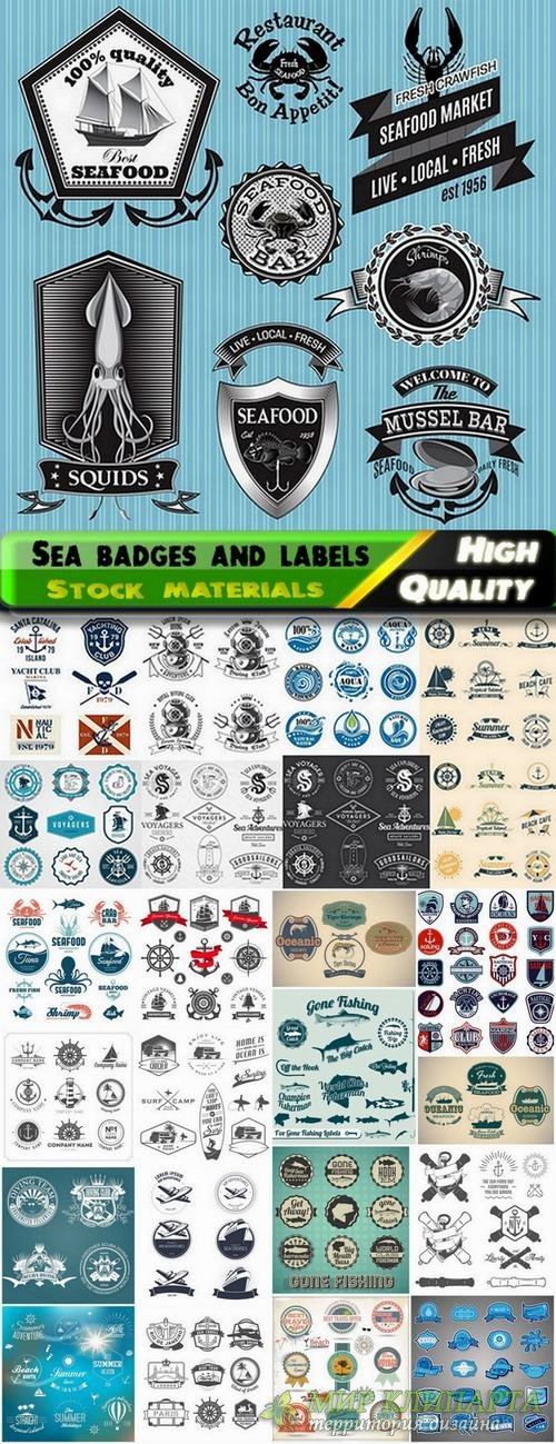 Sea badges and labels in vector from stock - 25 Eps