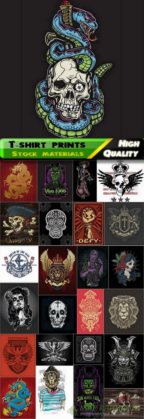 T-shirt prints design in vector from stock #31 - 25 Eps