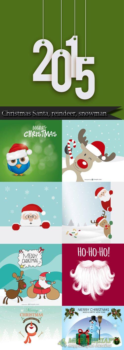 Christmas Santa, reindeer, snowman