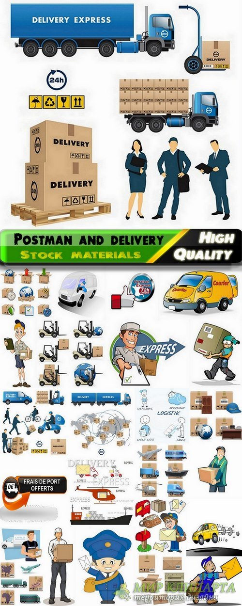 Postman and delivery in vector from stock - 25 Eps