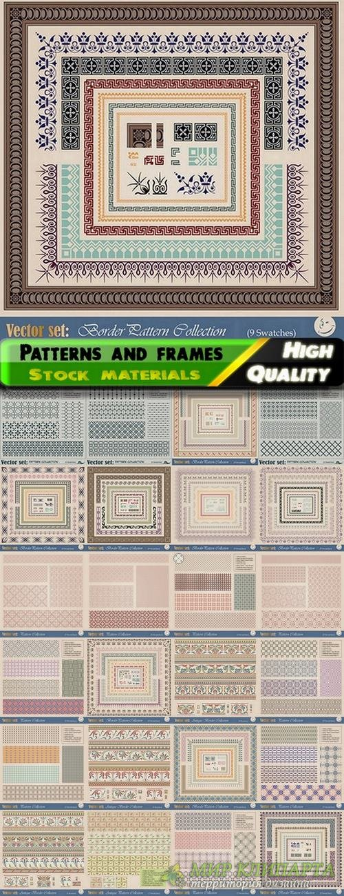Patterns and frames for page decoration - 25 Eps
