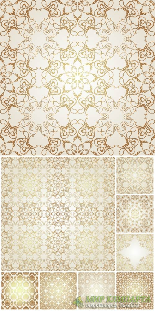 Gold vintage patterns, backgrounds, textures vector