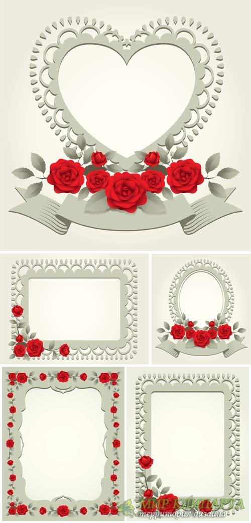 Vector frame with red roses