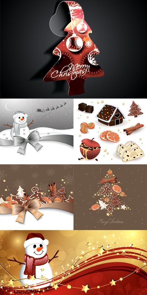 Новогодний сборник со снеговиками и лакомствами - векторный клипарт