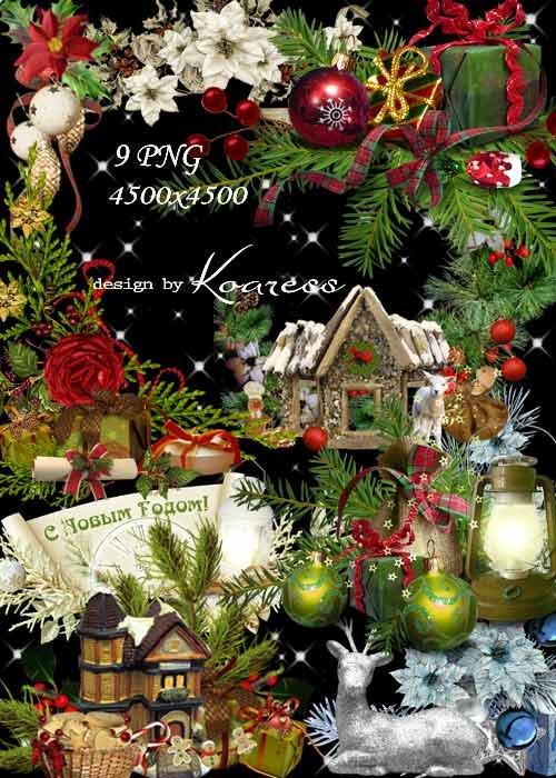 Новогодние праздничные кластеры на прозрачном фоне с еловыми ветками, подар ...