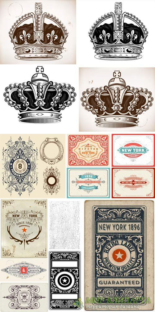 Vintage labels with decorative elements, vector backgrounds