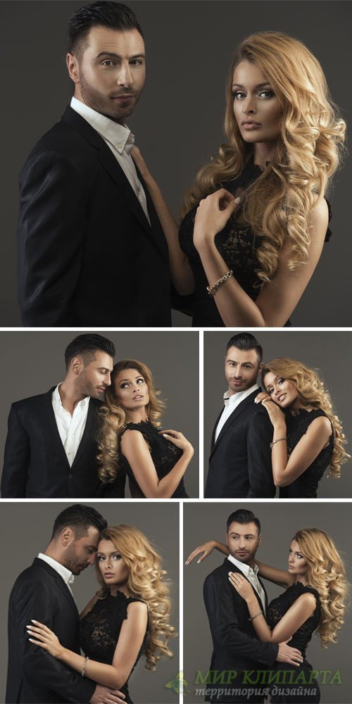Man and woman in black, stylish couple - stock photos