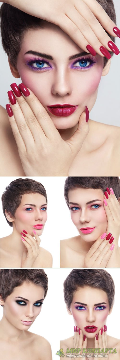 Girl with short hair, stylish make-up - stock photos