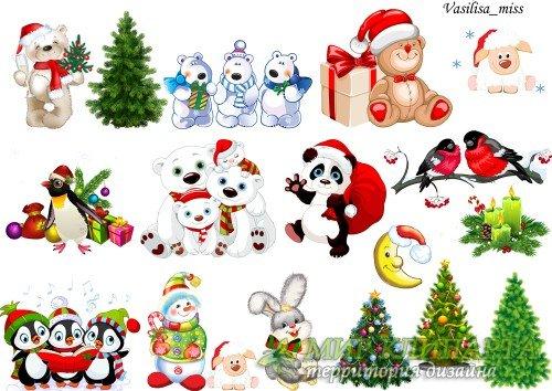 Клипарт новогодний микс - ёлки, животные в новогодних костюмах, снеговик