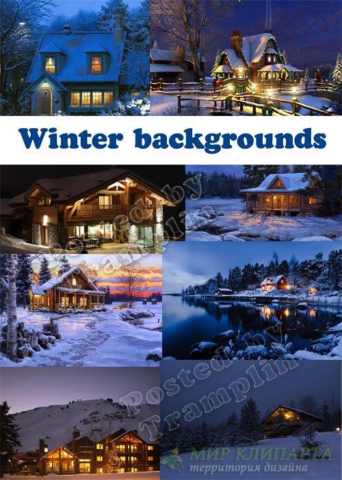 Природа, зима, лес, дома, фонари, ночь – Новогодние фоны