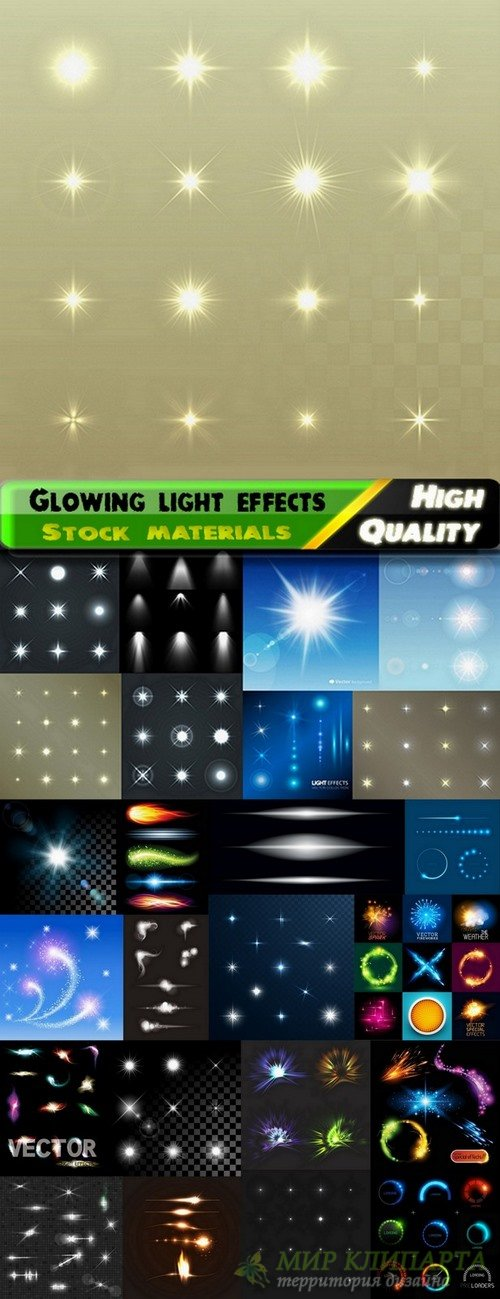 Glowing light effects in vector from stock - 25 Eps