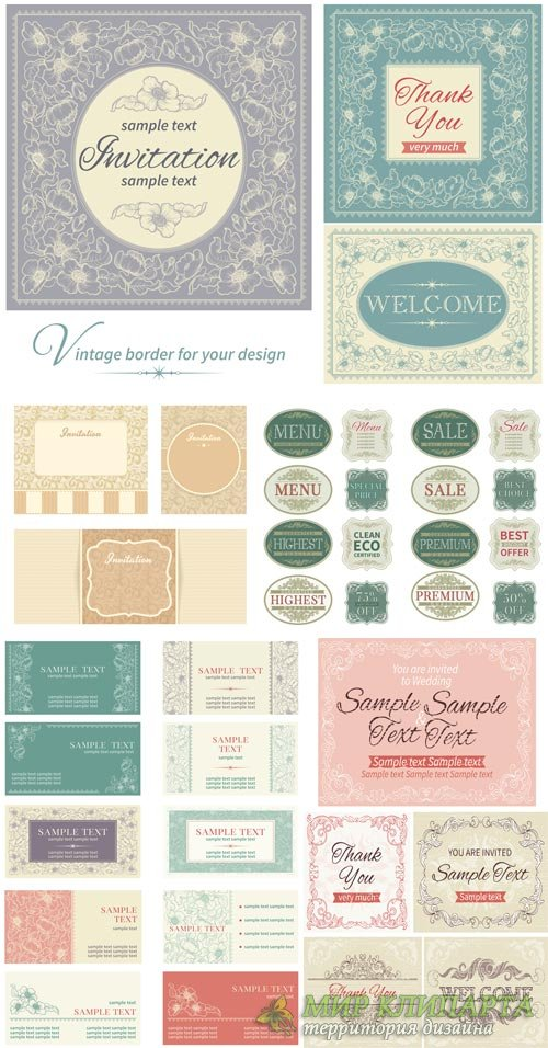 Invitation in vector vintage labels