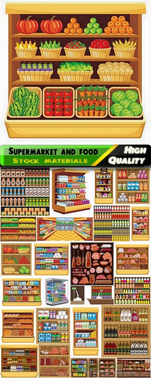 Interior supermarket and various food - 25 Eps