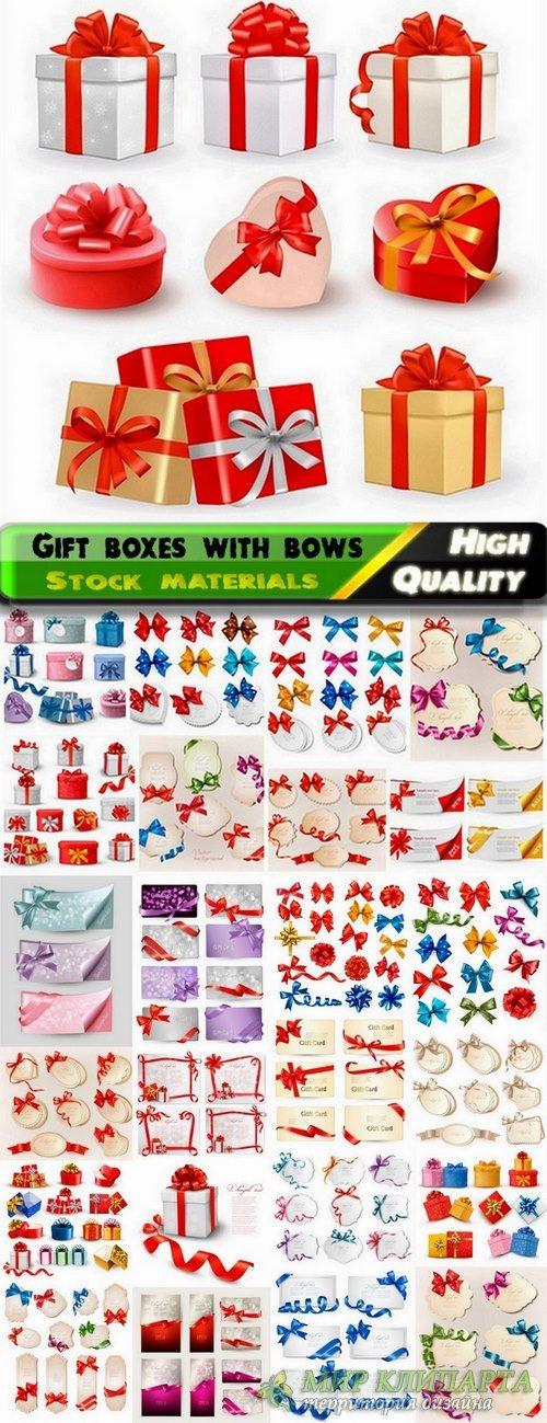 Holiday backgrounds and gift boxes with bows and ribbons - 25 Eps