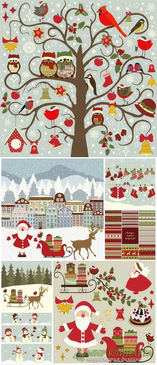 Christmas and New Year, Santa Claus, vector backgrounds