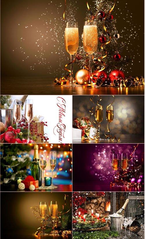 Стоковые фотографии - Новогоднее шампанское
