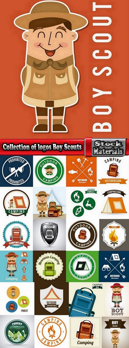 Collection of logos Boy Scouts 25 Eps