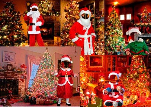 Шаблоны для фотошопа  - Дети в костюмах Санта-Клауса