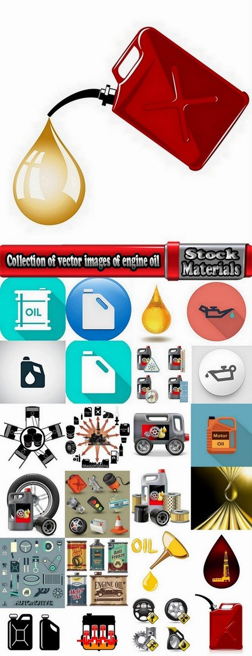 Collection of vector images of engine oil 25 Eps