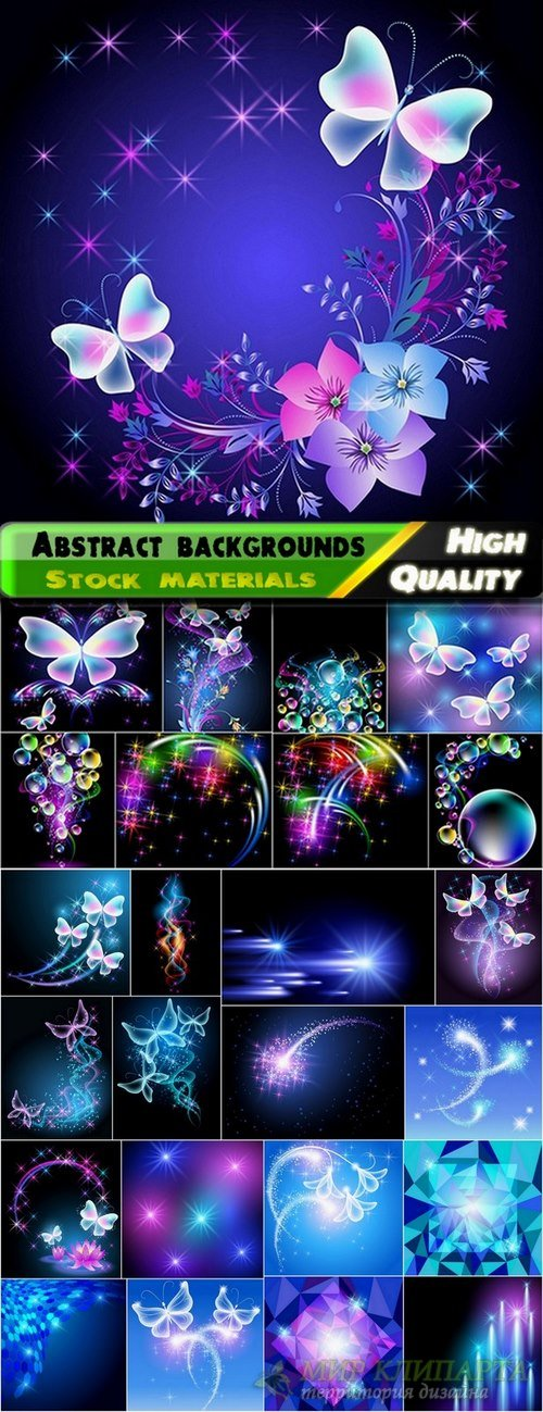 Abstract backgrounds with balls and butterfly - 25 Eps