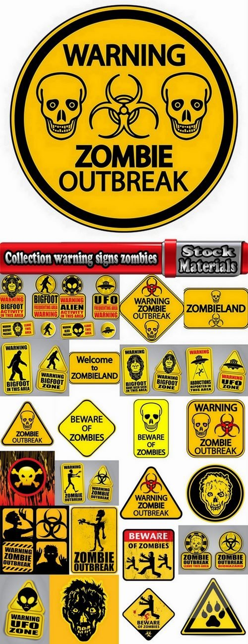 Collection warning signs zombies 25 Eps