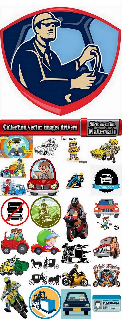 Collection vector images drivers 25 Eps