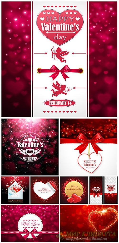 Valentine's Day, angels and hearts, vector shining backgrounds