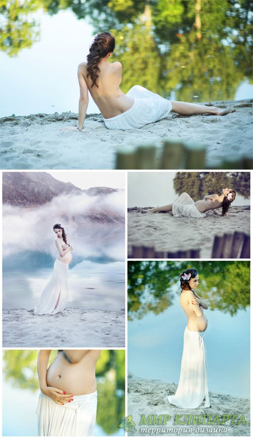 Pregnant woman in nature - stock photos
