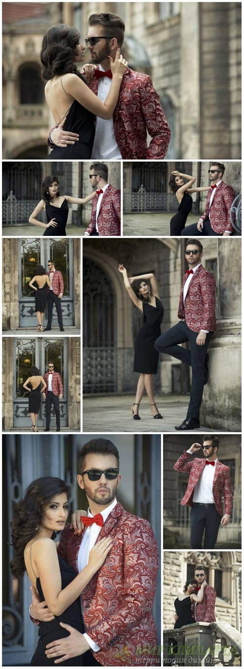 Beautiful fashionable couple - stock photos