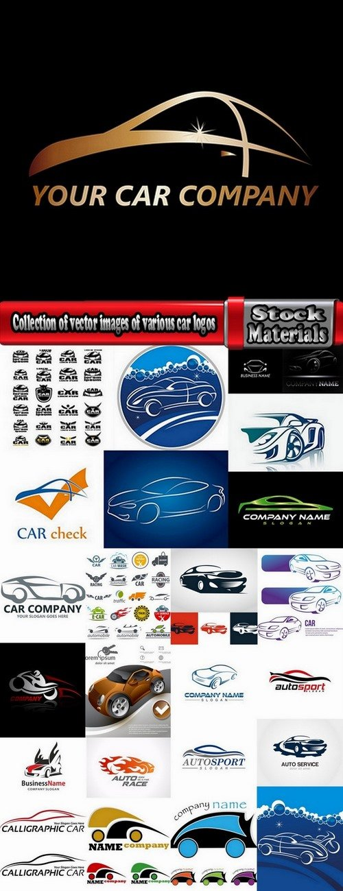 Collection of vector images of various car logos 25 Eps