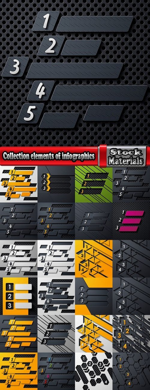 Collection elements of infographics vector image #13-25 Eps