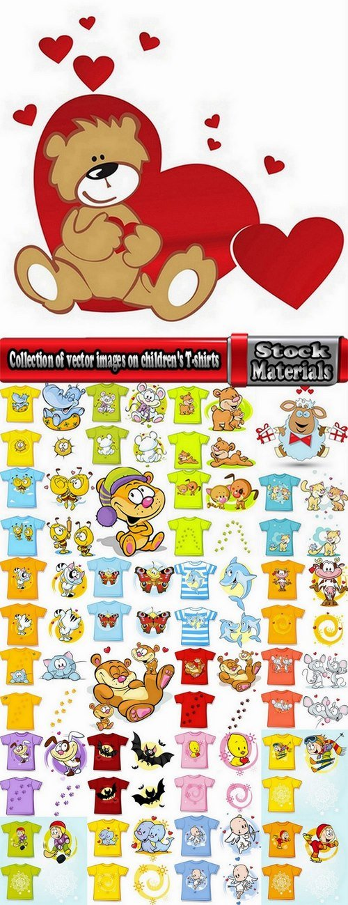 Collection of vector images on children's T-shirts 25 Eps