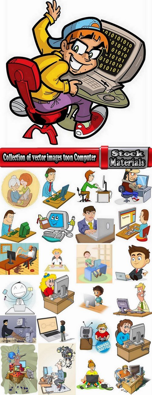 Collection of vector images toon Computer 25 Eps