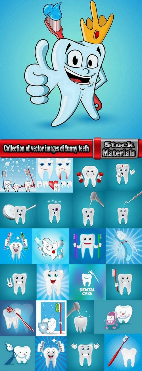 Collection of vector images of funny teeth 25 Eps